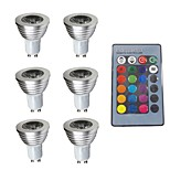 abordables -6pcs 3W 280 lm GU10 Focos LED 1 leds Regulable Decorativa Control Remoto RGB 200-240V