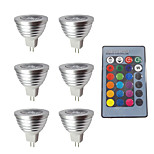 cheap -6pcs 3W 280 lm MR16 LED Spotlight 1 leds Dimmable Decorative Remote-Controlled RGB DC 12V
