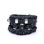 cheap -Men's Leather 4pcs Wrap Bracelet - Statement Irregular Black Bracelet For Daily Street