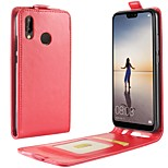 cheap -Case For Huawei P20 lite P20 Card Holder Flip Full Body Cases Solid Colored Hard PU Leather for Huawei P20 lite Huawei P20