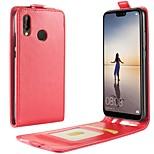 abordables -Funda Para Huawei P20 lite P20 Soporte de Coche Flip Funda de Cuerpo Entero Un Color Dura Cuero de PU para Huawei P20 lite Huawei P20