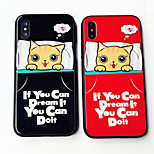 cheap -Case For Apple iPhone X iPhone 8 Shockproof Pattern Back Cover Cat Word / Phrase Cartoon Hard Tempered Glass for iPhone X iPhone 8 Plus