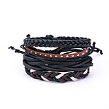cheap -Men's Wrap Bracelet , Vintage Oversized Leather Black Irregular Jewelry Daily Carnival Costume Jewelry