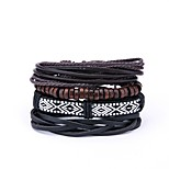 cheap -Men's Leather 4pcs Wrap Bracelet - Vintage Fashion Irregular Black Bracelet For Carnival Street