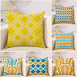 cheap -6 pcs Cotton/Linen Pillow Case Novelty Pillow Pillow Cover, Plaid/Checkered Geometric Color Block Geometric Classical