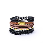 cheap -Men's Leather Oversized 4pcs Wrap Bracelet - Casual Oversized Irregular Black Bracelet For Gift Daily