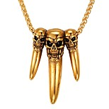 cheap -Men's Women's Skull Stainless Steel Pendant Necklace  -  Fashion Gold Silver 55cm Necklace For Daily