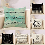 cheap -6 pcs Cotton/Linen Pillow Case Novelty Pillow Pillow Cover, Music Letter Quotes & Sayings Creative Musician