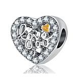 cheap -DIY Jewelry 1pcs Beads Rhinestone Alloy Silver Heart Bead 2cm DIY Necklace Bracelet