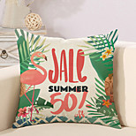 cheap -1 pcs Cotton/Linen Pillow Case Novelty Pillow Pillow Cover, Floral Flamingo Quotes & Sayings Pastoral Style Tropical