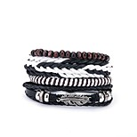 cheap -Men's Wrap Bracelet , Fashion European Leather Black Irregular Jewelry Gift Daily Costume Jewelry