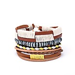 cheap -Men's Wrap Bracelet , Casual European Leather Yellow Irregular Jewelry Gift Daily Costume Jewelry