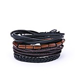 cheap -Men's Leather 4pcs Wrap Bracelet - Vintage Casual Irregular Black Bracelet For Daily Street
