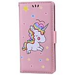 cheap -Case For Huawei P9 Lite P8 Lite (2017) Card Holder Wallet with Stand Flip Embossed Full Body Cases Unicorn Hard PU Leather for Huawei P9