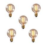 Недорогие -5 шт. 40W E26 / E27 G80 Тёплый белый 2200-2700k Ретро Диммируемая Декоративная Лампа накаливания Vintage Эдисон лампочка 220-240V