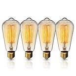 Недорогие -KWB 1 комплект 40W E26 / E27 ST64 Теплый Желтый 2200k Вид на город Лампа накаливания Vintage Эдисон лампочка 220-240V