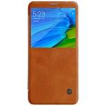 abordables -Funda Para Xiaomi Redmi Note 5 Pro con Ventana Flip Activación al abrir / Reposo al cerrar Funda de Cuerpo Entero Un Color Dura Cuero de