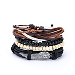 cheap -Men's Leather 4pcs Wrap Bracelet - Vintage Casual Irregular Black Bracelet For Daily Prom