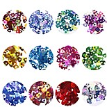 cheap -12pcs Nail Glitter Sequins Glitters Heart shape Nail Art Design