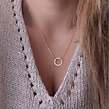 cheap -Men's Women's Pendant Necklace - Basic Fashion Circle Gold 42cm Necklace For Gift Daily