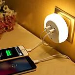 Недорогие -LED Night Light Тёплый белый Smart Двойной разъем USB Зарядное устройство для телефона Управление освещением 110-120V 220-240V