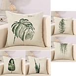 cheap -5 pcs Cotton/Linen Pillow Case Novelty Pillow Pillow Cover, Botanical Special Design Leaf Vintage Tropical