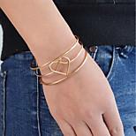 Недорогие -Жен. Сердце 1 Браслет разомкнутое кольцо - На каждый день Классический Круглый Золотой Серебряный Браслеты Назначение Повседневные