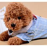 Недорогие -Собаки Коты Футболки Одежда для собак Контрастных цветов В клетку Бант Серый Синий Ткань Костюм Для домашних животных Женский На каждый