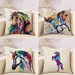 cheap -4 pcs Cotton/Linen Pillow Case Novelty Pillow Pillow Cover, Oil Painting Wildlife Animal Nature Inspired Boho