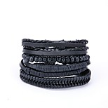cheap -Men's Leather 4pcs Wrap Bracelet - Casual European Irregular Black Bracelet For Gift Daily