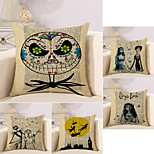 cheap -5 pcs Cotton/Linen Pillow Case Novelty Pillow Pillow Cover, Retro Holiday Novelty Retro Halloween