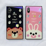 cheap -Case For Apple iPhone X iPhone 8 Shockproof Pattern Back Cover Cartoon Animal Hard Tempered Glass for iPhone X iPhone 8 Plus iPhone 8