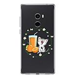 Недорогие -Кейс для Назначение Xiaomi Mi Mix 2 Прозрачный С узором Кейс на заднюю панель Кот Мягкий ТПУ для Xiaomi Mi Mix 2