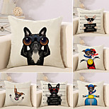 cheap -6 pcs Cotton/Linen Pillow Case Novelty Pillow Pillow Cover, 3D Dog Quotes & Sayings Animals Creative
