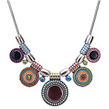 cheap -Women's Bohemian Zircon Choker Necklace - Vintage Bohemian Circle Geometric Rainbow Rose Red 44cm Necklace For Evening Party Going out