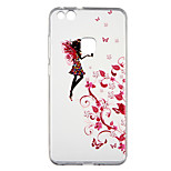 cheap -Case For Huawei P10 Lite Transparent Pattern Back Cover Sexy Lady Flower Soft TPU for P10 Lite