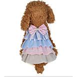 preiswerte -Hunde Katzen Kleider Hundekleidung Patchwork Schleife Grau Rosa Baumwollstoff Kostüm Für Haustiere Weiblich Kleider & Röcke Süßer Style