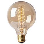 Недорогие -1шт 40 Вт E26/E27 G125 Тёплый белый 2200-2700k К Ретро Диммируемая Декоративная Лампа накаливания Vintage Эдисон лампочка 220-240V
