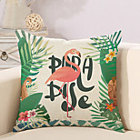 cheap -1 pcs Cotton/Linen Pillow Case Novelty Pillow Pillow Cover, Flamingo Classic Quotes & Sayings Casual/Daily Tropical