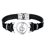 cheap -Men's Leather Bracelet Fashion Stainless Steel Leather Black Music Notes Jewelry Daily Costume Jewelry