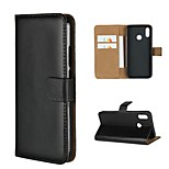 cheap -Case For Huawei P20 lite P20 Card Holder Wallet with Stand Full Body Cases Solid Colored Hard Genuine Leather for Huawei P20 lite Huawei
