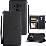 cheap -Case For Huawei Mate 10 Mate 10 pro Card Holder Wallet Shockproof Flip Full Body Cases Solid Colored Hard PU Leather for Mate 10 pro Mate