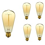 Недорогие -5 шт. 40 Вт E26/E27 ST64 Тёплый белый 2200-3000k К Ретро Диммируемая Декоративная Лампа накаливания Vintage Эдисон лампочка 110-130V