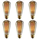 Недорогие -BRELONG® 6шт 40W E26 / E27 Желтый 2000-2200k Декоративная Лампа накаливания Vintage Эдисон лампочка 220-240V