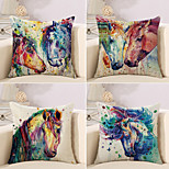 cheap -4 pcs Cotton/Linen Pillow Case Novelty Pillow Pillow Cover, 3D Oil Painting Animal Artistic Style European Style