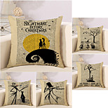 cheap -5 pcs Cotton/Linen Pillow Case Novelty Pillow Pillow Cover, Retro Quotes & Sayings Holiday Vintage Halloween