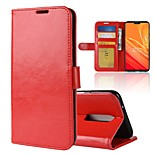 Недорогие -Кейс для Назначение OnePlus OnePlus 6 / OnePlus 5T Кошелек / Бумажник для карт / Флип Чехол Однотонный Твердый Кожа PU для OnePlus 6 /