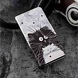 Недорогие -Кейс для Назначение Huawei P20 lite / P20 Бумажник для карт / Кошелек / со стендом Чехол Кот Твердый Кожа PU для Huawei P20 lite / Huawei