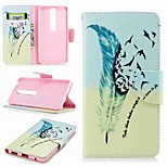 cheap -Case For Nokia Nokia 6 2018 Nokia 5 Card Holder Wallet with Stand Flip Pattern Full Body Cases Feathers Hard PU Leather for Nokia 8 Nokia