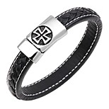 cheap -Men's Bangles / Leather Bracelet - Leather Cross Classic, Fashion Bracelet Dark Blue / Coffee / Brown For Gift / Work